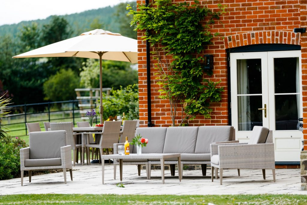 Make the most of the sun with comfortable outside seating for dining and relaxing.
